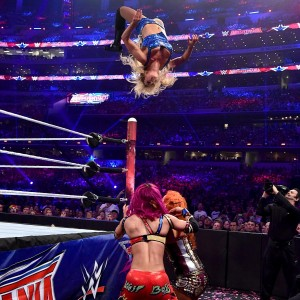 Charlotte went all out to defend her title, including hitting this beautiful moonsault on Sasha Banks and Becky Lynch!
