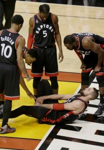 A huge loss for the Raptors in Game Two, as centre Jonas Valanciunas went down with a series-ending ankle injury.