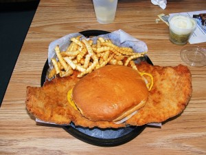 Ohhh, yeaaaah... the traditional Indianapolis Motor Speedway pork tenderloin sandwich!